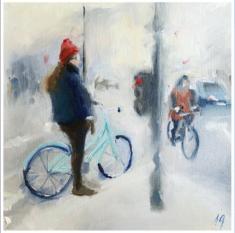 Audrey Gayraud , Paris à bicyclette huile sur papier entoilé, 25x25cm