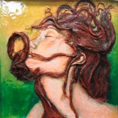 Francesco Romano, Abbandono 2, sensualité, 60x60cm, résine acrylique et incrustations, 2020, Paris