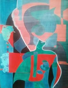 Réjane Cousin, galaxies humaines, 9 X 1996, acrylique, collages, feutre boutin, fils de soie, 65 x 50 cm
