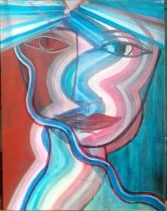 Réjane Cousin, Le noeud dans la gorge, 16  XI 1995, acrylique sur carton, 65 x 50 cm