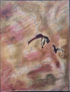 Réjane Cousin, Les plumes du coeur, 1990, acrylique feutre, 65 x 50 cm