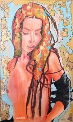 Sans nom 2, Mucha, Francesco Romano Arts, Résine et dorures sur toile, 60x100cm, 2020, Paris