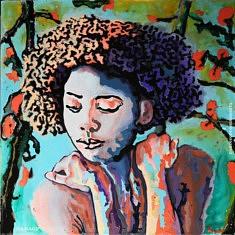 Trapped afro, Francesco Romano Arts, Résine sur toile, 100x100cm, 2021, Paris