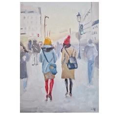 Audrey Gayraud,  Balade parisienne,  Gouache sur papier, 21x29.7cm, 2021