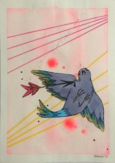 Lolaura, Love fool, collage, aquarelle encre et acrylique sur papier, 148x21cm, 2020