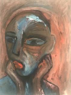 Marie Fanget, Des visages des virages des mirages, peinture à l'huile, 50x65cm, 2021