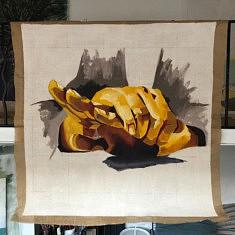 Stéphanie Libreros, Apaiser, Acrylique, Toile de jute, gesso, 120x120cm, 2021