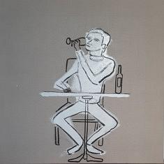 Juan-Diego Vergara, En train de boire dans le salon, Huile, fusain, line, 50x50cm, 2021