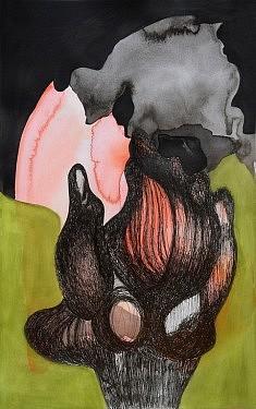 Delphine Epron, Série Les Intrépides 7, 2017, feutre aquarelle et encre de chine sur papier, 50x31cm