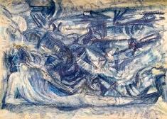 Marie Thérèse SICURANI, Le Chaos crayons de couleur et pastel gras 29x40 cm