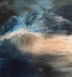 Maryse Béguin, Au bout du jour, 2019 100x100cm Pigments acrylique et sable
