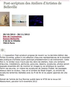 (Français) Art Absolument parution le 8 novembre 2012
