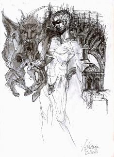 L'homme à l'hermine, 2020, dessin tirage toile A4 original numéroté1/8