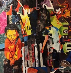 Série Anges et démons, N4, technique mixte sur toile, 100x100x5cm, 2018