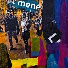 Série Digital Street Wall Sol, DSWSOL - III, technique mixte sur toile, 30x30x5cm, 2019