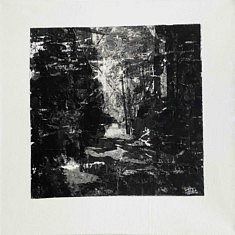 Série Empreintes EM7 - Forêt noire, technique mixte sur toile, 40x40x10cm, 2020
