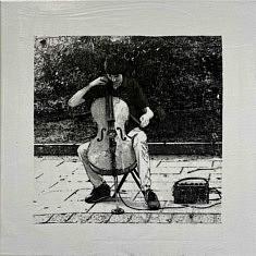 Série Empreintes EM4 - Le violoncelliste, technique mixte sur toile, 40x40x10cm, 2020