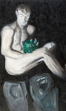 """""""Homme au chat""""  Huile sur toile -1995   89x147 cm"""