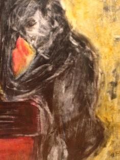 """""""Théatralité"""" Encre, collage 2007  42x56 cm"""
