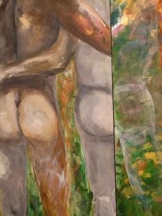 """Dytique """"Etre et paraître"""" Acrylique - 2010   60x18 cm"""