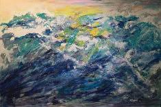 """SERIE """"VAGUES"""" technique mixte sur toile - 2018   194x130 cm"""