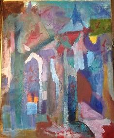 VILLAGE Acrylique sur toile 65*82