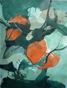 """Série """"mes fleurs8"""", peinture sur papier, 65x55 cm"""