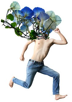 la Comtesse aime le Jardinage (Ipomée bleue) - Impression numérique  (2018)
