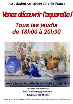 Cours d'aquarelle. Reprise le jeudi 1er octobre 2020