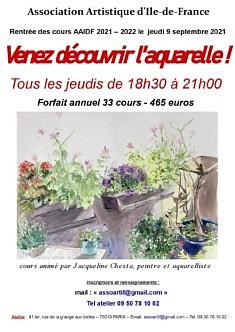 Cours aquarelle tous les jeudis de 18h30 à 21h00 à partir du 9 septembre2021.