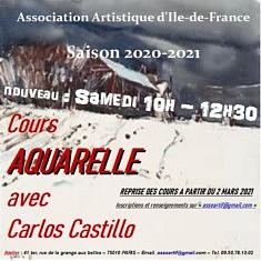 Cours d'aquarelle. FORFAIT 13 COURS DE MARS A JUIN 2021