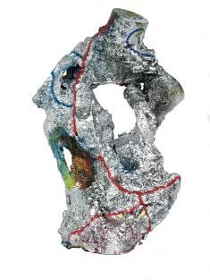 """""""Relief 66b"""" Sculpture - Huile sur objets (24x21x21) 2006"""