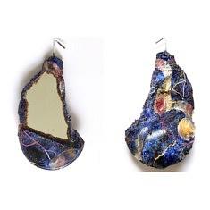 """""""Relief 141b"""" Miroir -  Huile sur verre et céramique (20x12x6) 2014"""