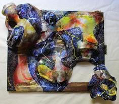 """""""Relief 2012"""" Huile sur objets (60x68x18) 2020"""