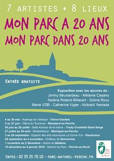 MAi à JANVIER 2019  expo itinérante  7 artistes sélectionnés  mon parc  a 20 ans , mon parc dans 20 ans  PERCHE