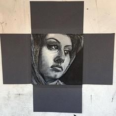Portrait - encre de chine et acrylique sur carton