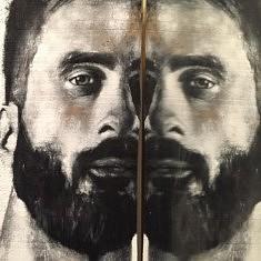 Portrait - encre de chine et acrylique sur bois brut