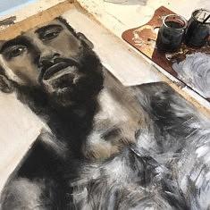 Portrait - encre de chine et acrylique sur tissus de malle de voyage