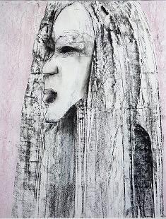 """""""vegetal woman"""" fusain et pastel gras sur papier encadré 83X63"""