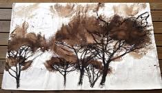 Les grands pins2.  Brou de noix et pastel gras sur toile libre. 160 x 98cm. Sept2020.