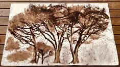 Les grands pins.  Brou de noix et pastel gras sur toile libre. 160 x 98cm. Sept2020