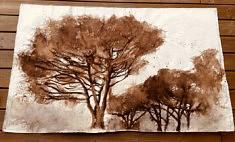 Les grands pins3.  Brou de noix et pastel gras sur toile libre. 160 x 98cm. Sept2020