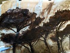 Peinture confinée n°1. Encre de Chine et brou de noix sur dos d'affiche. 2m x ??. Mars2020