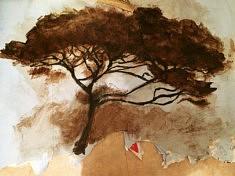 Peinture confinée  n°2. Encre de Chine et brou de noix sur dos d'affiche déchirée. 1m80 x ??. Avril2020