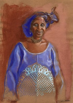 Mme Fatou C en basin bleu
