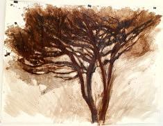 Peinture confinée n°3. Brou de noix, encre de Chine et pastel gras sur papier. 148x111cm. Avril2020