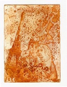 les amoureux de la Tour Eiffel eau-forte 2019