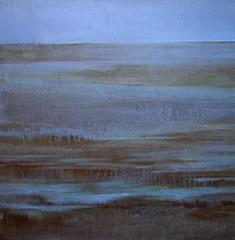Marais bleu,Technique mixte sur toile 100X100cm