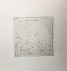 (c) Confais 2020 - les Hibernés - l'ours - eau forte - Gravure matrice 10x10 imprimée sur papier Hanhenmüle 300g 20x20 cm en 40 exemplaires numérotés et signés