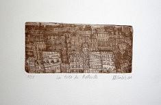 (c) Confais 2011 - Les toits de Belleville - gravure sur zinc - 10 x 15 - 25 exemplaires